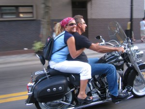 Stan and Naomi Loomis take a Harley Davidson Test Drive